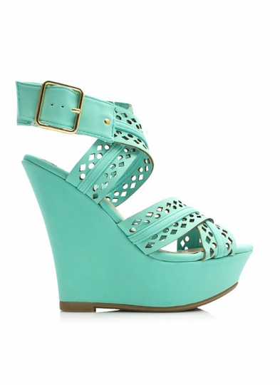 Perforated Crisscross Strap Wedges