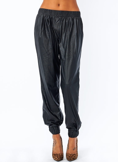Perforated Faux Leather Track Pants