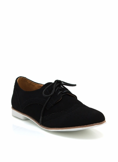 Perforated Faux Nubuck Oxfords