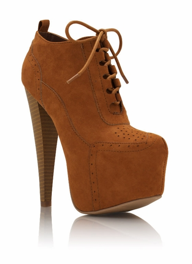 Perforated Lace Up Faux Suede Booties