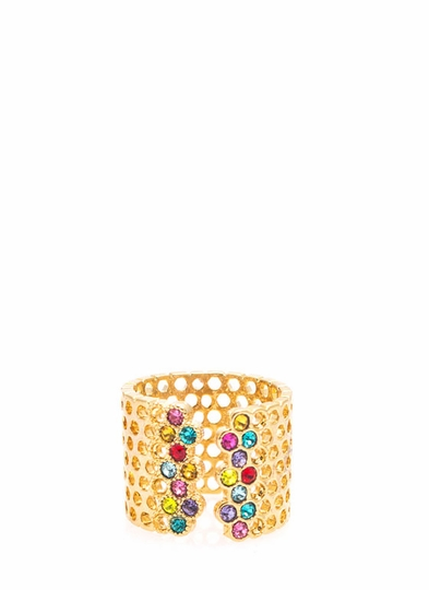 Perforated Rhinestone Ring