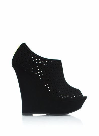 Petal Perforated Wedge Booties