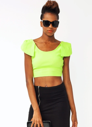 Petal Sleeve Cropped Top