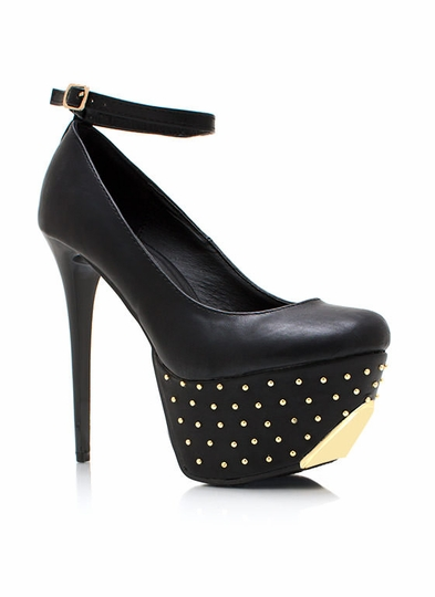 Pin Dot Studded Heels
