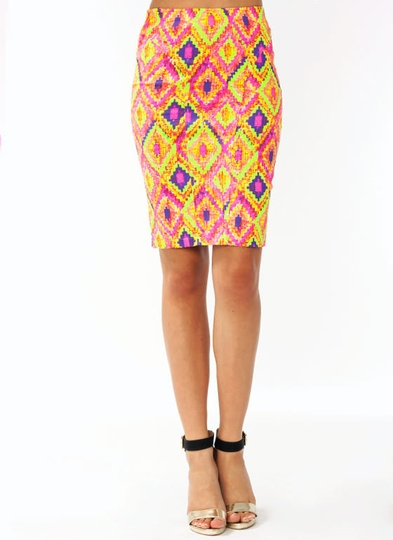 Pixelated Diamond Print Pencil Skirt
