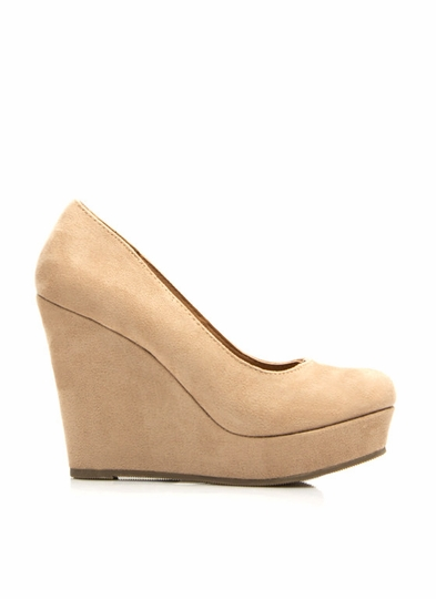 Plain And Simple Faux Suede Wedges