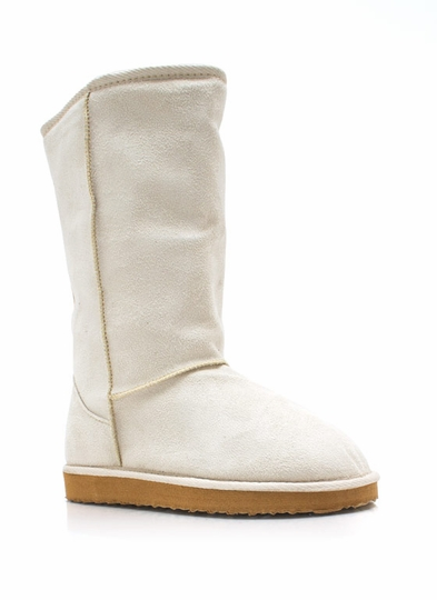 Plain And Tall Faux Shearling Boots