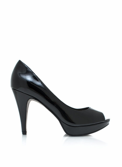 Play For Peeps Faux Patent Pumps