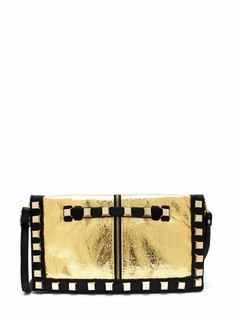 Play The Foil Studded Clutch