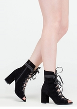 Play Your Lace Faux Suede Block Heels