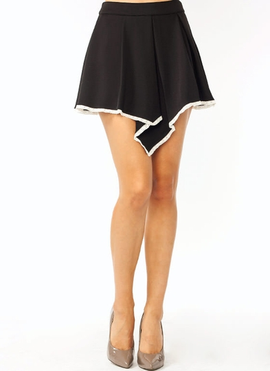 Pleated Lace Trim Mini Skirt