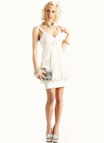 Pleated Rhinestone Broach Bubble Dress