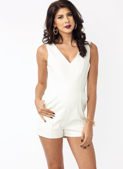 Plunging Faux Leather Romper