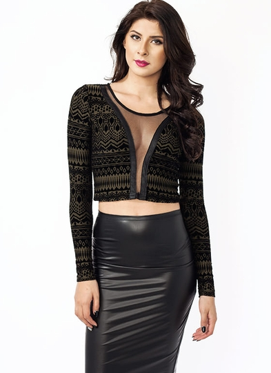 Plunging Flocked Cropped Top