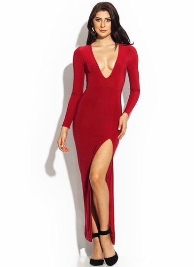 Plunging Single-Slit Maxi Dress