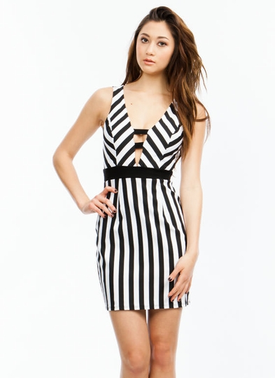 Plunging Stripe It Off Dress