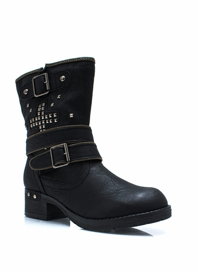 Plus One Studded Strappy Boots