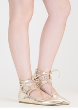 Point It Out Lace-Up Metallic Flats