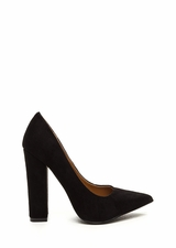 Point 'N Chic Chunky Faux Suede Pumps