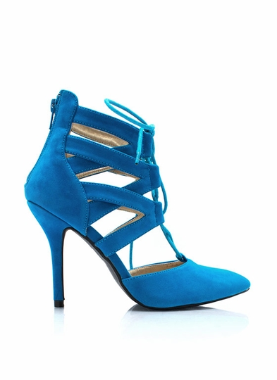 Point Slope Faux Suede Heels