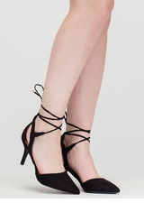 Point Total Cut-Out Lace-Up Heels