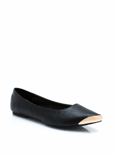Point Your Toes Faux Leather Flats