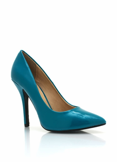Pointy Toe Faux Patent Pumps