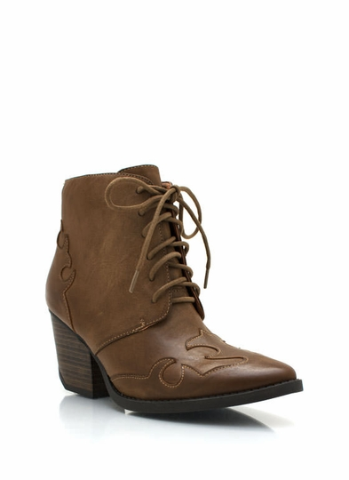 Pointy Toe Lace-Up Ankle Boots