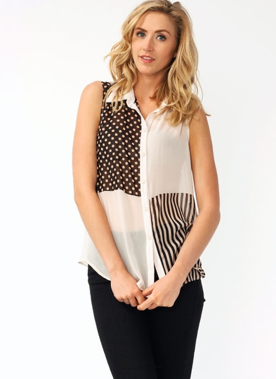 Polka Dot Stripe Contrast Blouse