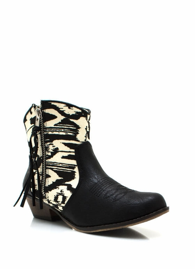 Printed Cowgirl Zipper Boots