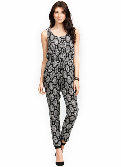 Scroll Along Drawstring Jumpsuit