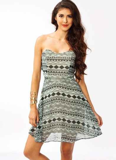 Printed Edition Strapless Dress