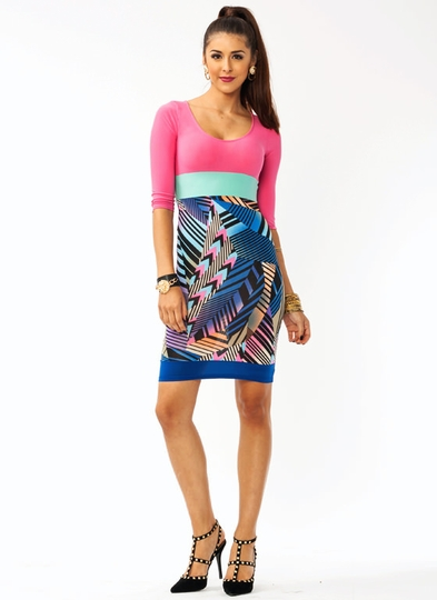 Printed Highlighter Body Con Dress
