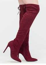 Pumped Faux Suede Thigh-High Boots