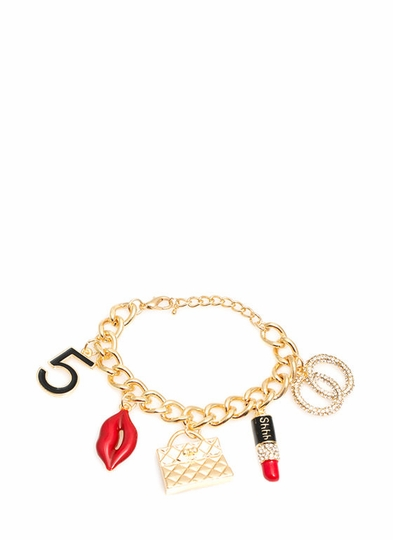 Pursed Lips Jeweled Charm Bracelet