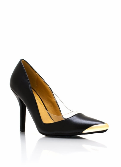 PVC Pointy Metallic Accent Pumps