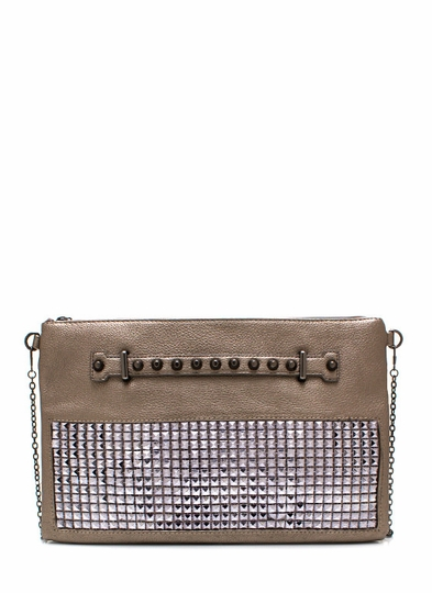 Pyramid Party Studded Quilted Clutch