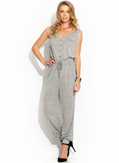 Quad Button Knit Jumpsuit