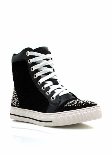 Quilted Embellished Contrast Sneakers