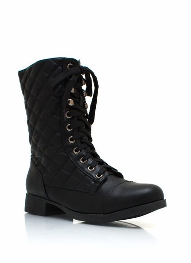 Quilted Faux Leather Dress Boots