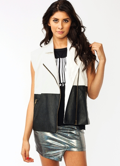 Quilted Faux Leather Vest