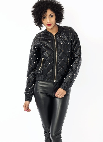 Quilted Spiky Bomber Jacket