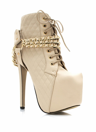 Quilty Chained Faux Leather Booties
