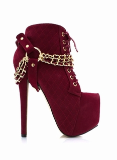 Quilty Chained Faux Nubuck Booties