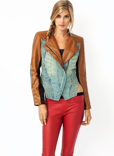 Quilty Denim Moto Jacket