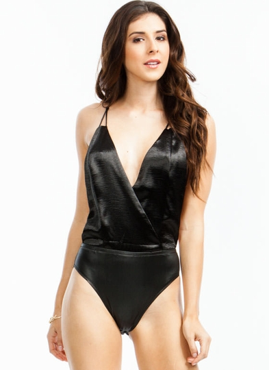 Racy Satin Surplice Bodysuit