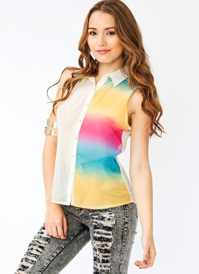 Rainbow Inset Top