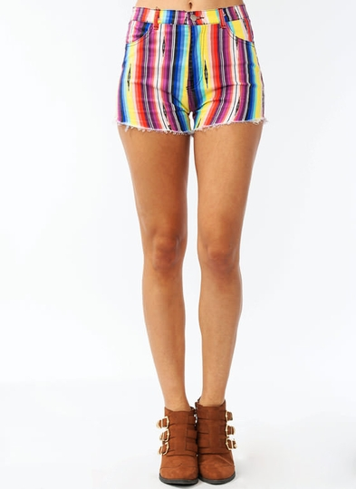 Rainbow Striped Cut-Off Shorts