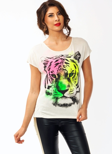 Rainbow Tiger Draped Tee