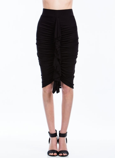 Ready To Ruffle Ruched Pencil Skirt